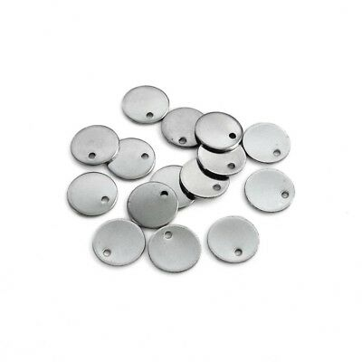 100 x Small 10mm Stainless Steel Round Blank Stamping Tags Charms