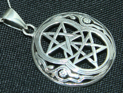 Double Pentagram 925 Sterling Silver Pentacle Pendant Pagan Wicca Witch