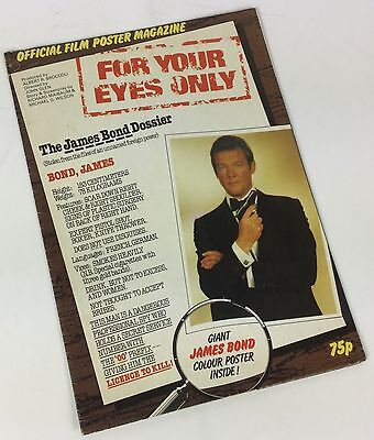 James Bond 007 For Your Eyes Only 1981 Official Poster Magazine, Roger Moore