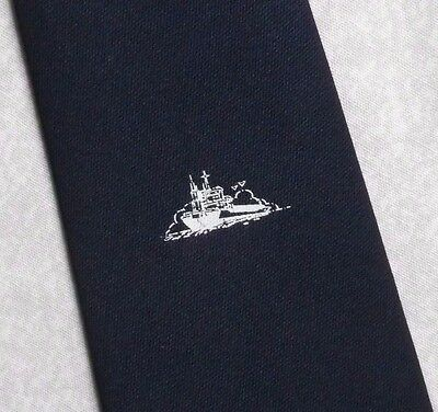 SHIP BOAT CREST LOGO TIE MADE BY TOOTAL FOR INTERPRINT 1980s 1990s NAVY VINTAGE