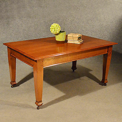 Antique 5' Oak Kitchen Dining Architect's Table Edwardian English 6 Seater c1910