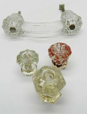 4 Antique Glass Knobs -various sizes and shapes