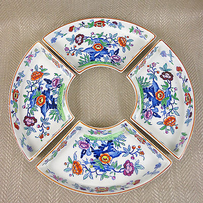 Booths China The Pompadour 8083 Rare Set Sectional Bowls Dish Hors d'oeuvre Vtg