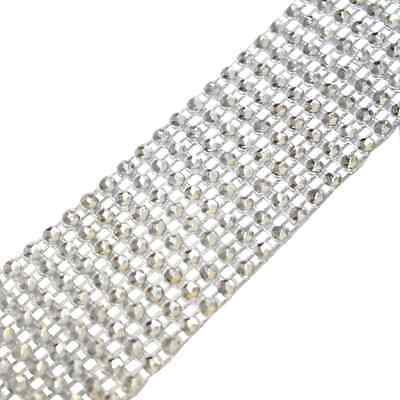 Silver Diamante Effect 8 Row Ribbon - 1.5m - Sparkling Rhinestone Diamond Trim