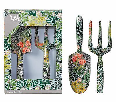 V & A William Morris Bower Garden Fork & Trowel Set