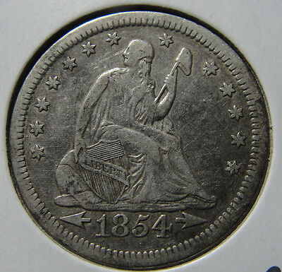 1854 25c Seated Liberty Quarter Very Fine Coin VF