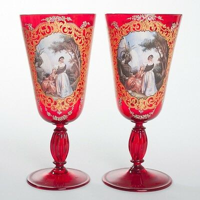 """Pair of 2 Antique Ruby Venetian Glass Large 10"""" Chalice Cup Vases Hand Painted"""