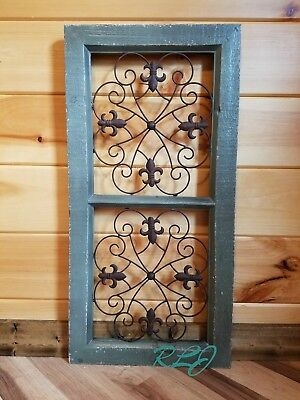 Distressed Rustic Vintage French Country Antique Scrolling  Wall Art Panel Decor