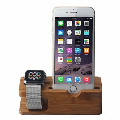 New Smart Bamboo Wood Charging Stand Stock Holder For All Apple Watch and iPhone