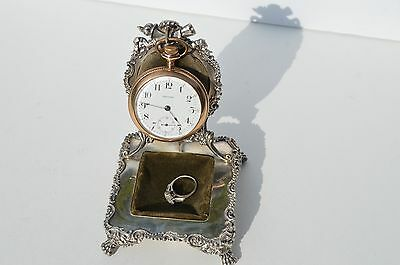 Gorgeous Antique Silver Plated Pocket Watch Holder Trinket Ring Coin Stand Rare