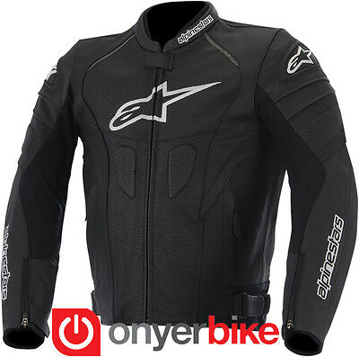 Alpinestars GP Plus R Leather Motorcycle Motorbike Mens Jacket Black Perforated