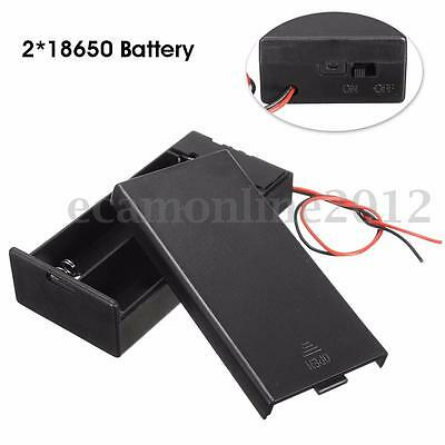 Holder Storage Box Case Container w/ ON/OFF Switch For 2*18650 Batteries 3.7V