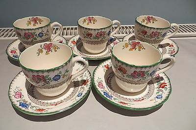 Five Copeland Late Spode Coffee Cups Saucers Chinese Rose Free Uk P&p
