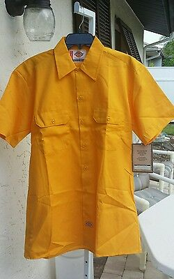 Dickies  Men's Work Shirt Short Sleeve Yellow Extra Long Tail Stain Release New