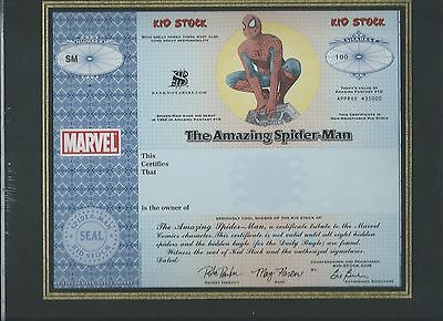 Spiderman Spider-Man stock certificate Marvel Kid Stock security design features