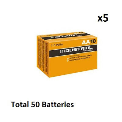 50 x AA Duracell Industrial MN1500 Alkaline 1.5v Batteries for Electronics