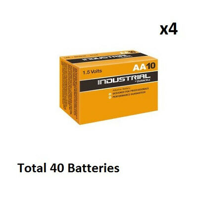 40 x AA Duracell Industrial MN1500 Alkaline 1.5v Batteries for Electronics