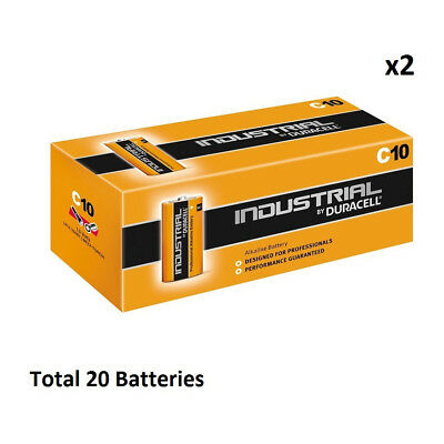 20 x C Duracell Industrial MN1400 LR14 Mezza Alkaline Battery Radio Torch Procel