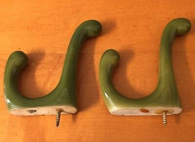 2 Vintage GREEN Porcelain Ceramic KITCHEN BATHROOM Wall Towel HOOKS Exc!