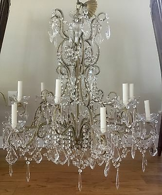 �� Antique Vintage Italian Crystal Beaded Directoire Chandelier 12 Light 34""