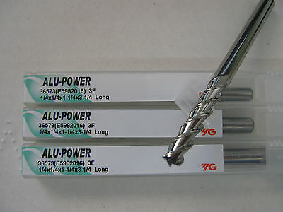 "3 PCS 1/4""x1 1/4""LOCx3 1/4""OAL YG-1 ALU-POWER 3 FLT Carbide End Mill ALUM ""NEW"""