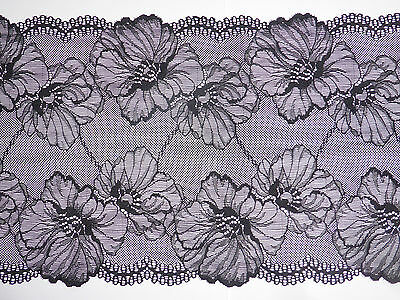 """Beautiful Black Extra Wide Stretch Lace Trim 9.5""""/23cm Sewing - Choose Length -"""