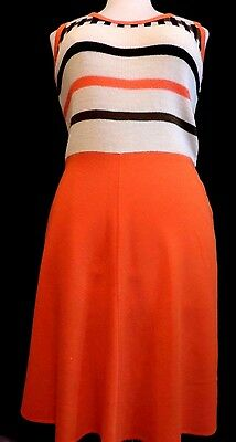 PUR VINTAGE  70  ROBE LAINE ET JERSEY ORANGE /RAYURES 40/42 VTG DRESS ref 374