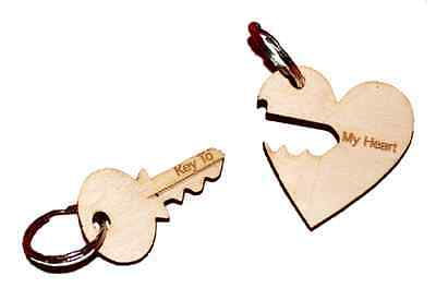 KEY And HEART Personalised - Keychain engraved  HIS HERS Couple Gift Keyring