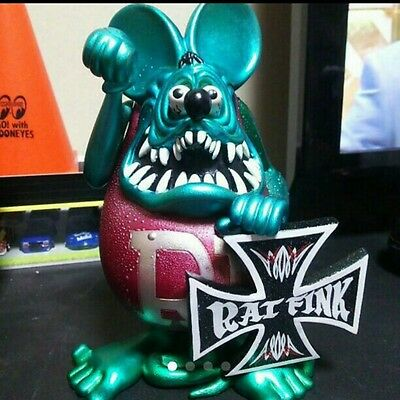Very Rare! RAT FINK Metallic Doll Figure Toy Green