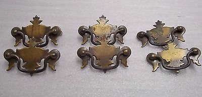 Lot Of 6 Vintage Single Post Drawer Pulls, With Backs/fittings