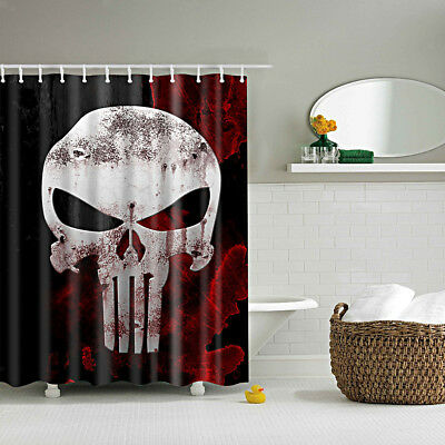 1x Shower Curtain Bathroom Waterproof Polyester Fabric Drapes Skull Pattern