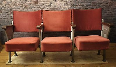 3 Vintage Red  Cinema Theatre Seating Chairs WITH AISLE END LEG Shabby Chic