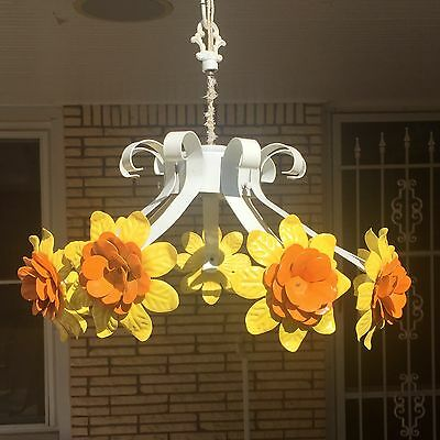 Vintage Orange Tole Flower Light Fixture Mid-Centry Modern Chandelier Cottage