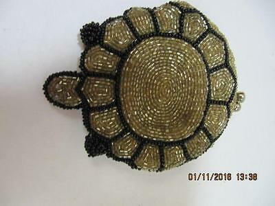 Vintage Beaded Coin purse Gold black glass beads turtle shape satin lined snap