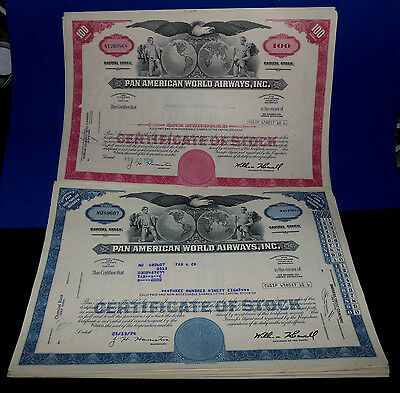 Mixed Lot Of 40 Pan American World Airways Inc. Bond Certificate & Capitol Stock