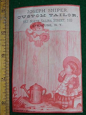 1870s-80s Joseph Sniper Custom Tailor Kids Doll #4 Victorian Trade Card F35
