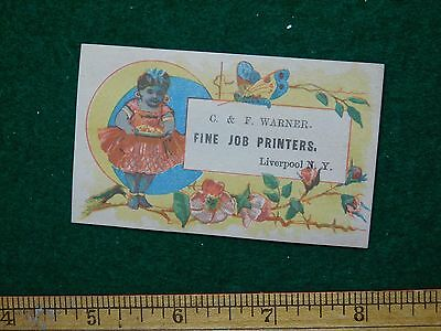 1870s-80s C & F Warner Fine Job Printers Blue Baby Victorian Trade Card F35