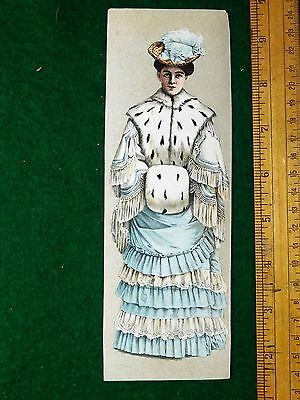 1870s-80s Lovely Lady Fur Collar & Muff Fabulous Dress Feather Hat Card #U