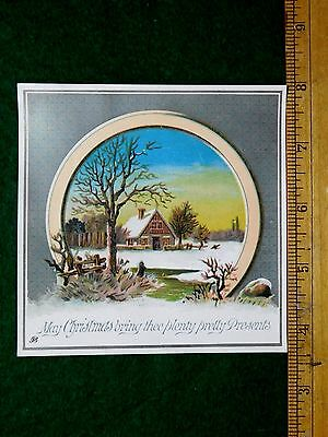 1870s-80s Lovely Christmas Winter Scene Mica Metallic Ink Victorian Card 2 #U