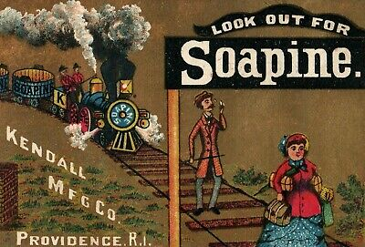 1870s-80s Man On Railroad Tracks Train Look Out For Soapine Trade Card F20