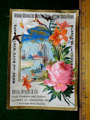 1870s-80s Besse, Bryant & Co, Blankets Robes Winter Caps Worcester Trade Card #U
