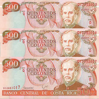 Costa Rica 500 Colones Series D 1994 P-262a UNC Three (3) Consecutive Banknotes