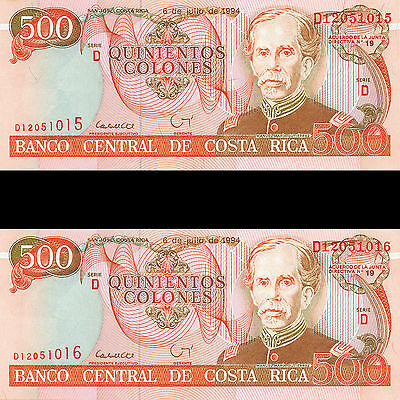 Costa Rica 500 Colones Series D 1994 P-262a UNC Four (4) Consecutive Banknotes