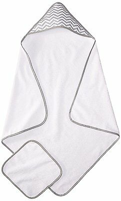 American Baby Company Terry Hooded Towel Set made with Organic Cotton White/Gray