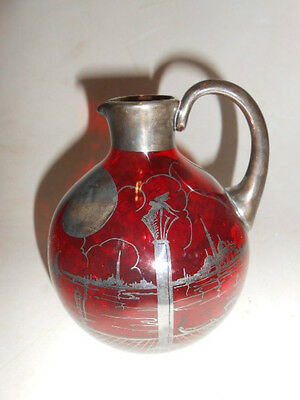 Antique Ornate Sterling SILVER Overlay RUBY GLASS PITCHER