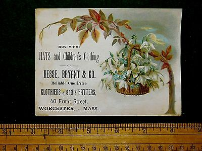1870s-80s Engraved Besse, Bryant & Co Hats Hatter, Victorian Trade Card #S