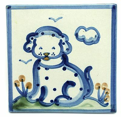 "Vintage M.A. Hadley 6"" Handpainted Spotted Puppy Dog Ceramic Nursery Tile"