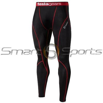 New Mens Tesla Baselayer Black Red Pants Armour Compression Tights Trousers