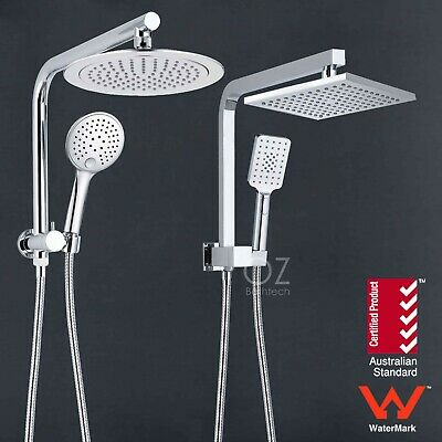 "WELS Twin 8"" Square/Round Rain Shower Head Handheld Spray Diverter Wall Arm Set"