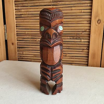 RETRO Vintage TIKI Totem Pole HAND Carved WOOD Hand CARVED Statue PAUA Eyes